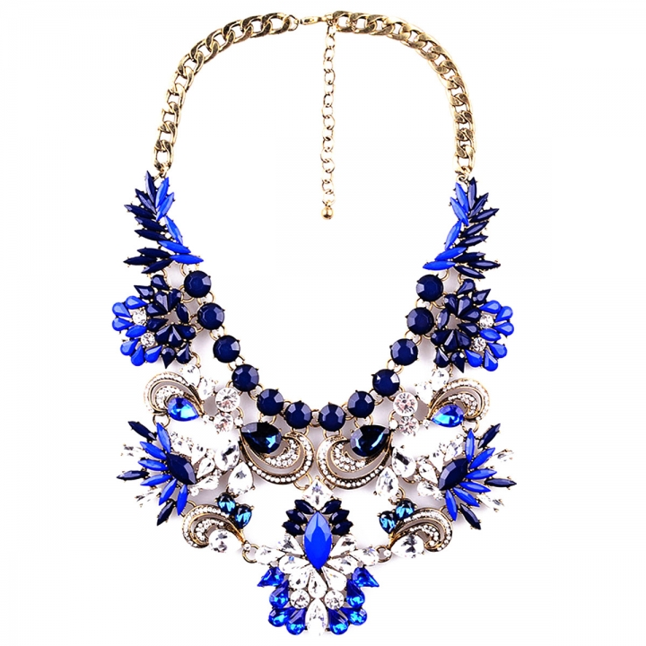 Fashion Pendants Exaggerated Big Crystal Acrylic Big Chain Statement Necklace Blue 26x9cm