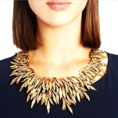 Retro Necklace Geometric Shape Willow Leaf Necklace Ladies Metal Necklace Jewelry gold 26x9cm