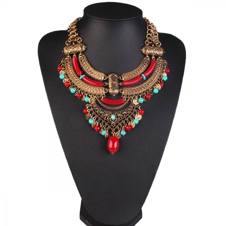 Retro Statement Necklaces Flower Beads inlaid stones Pendant Tassel Necklace Choker red 26x9cm