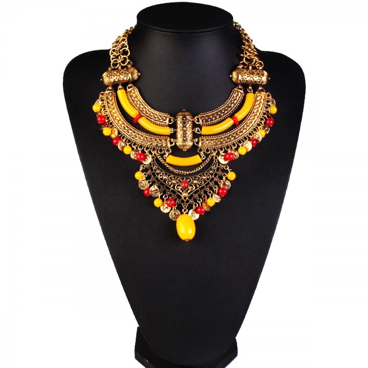 Retro Statement Necklaces Flower Beads inlaid stones Pendant Tassel Necklace Choker yellow 26x9cm