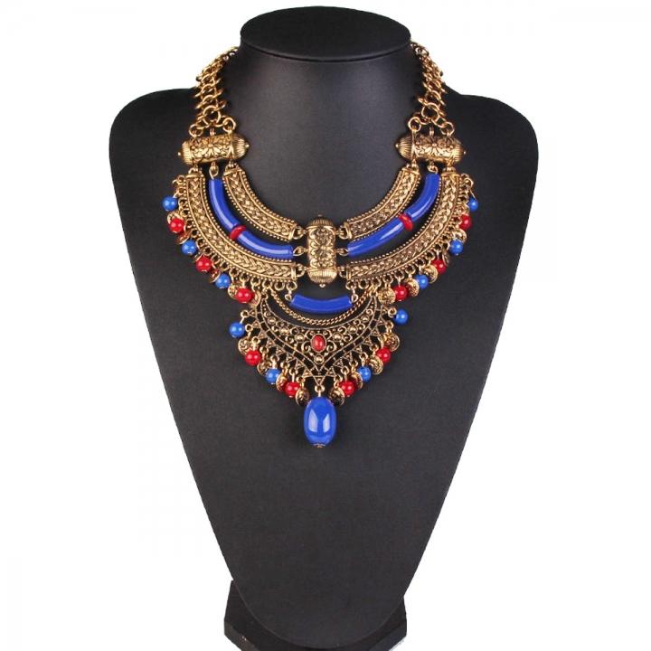 Retro Statement Necklaces Flower Beads inlaid stones Pendant Tassel Necklace Choker blue 26x9cm