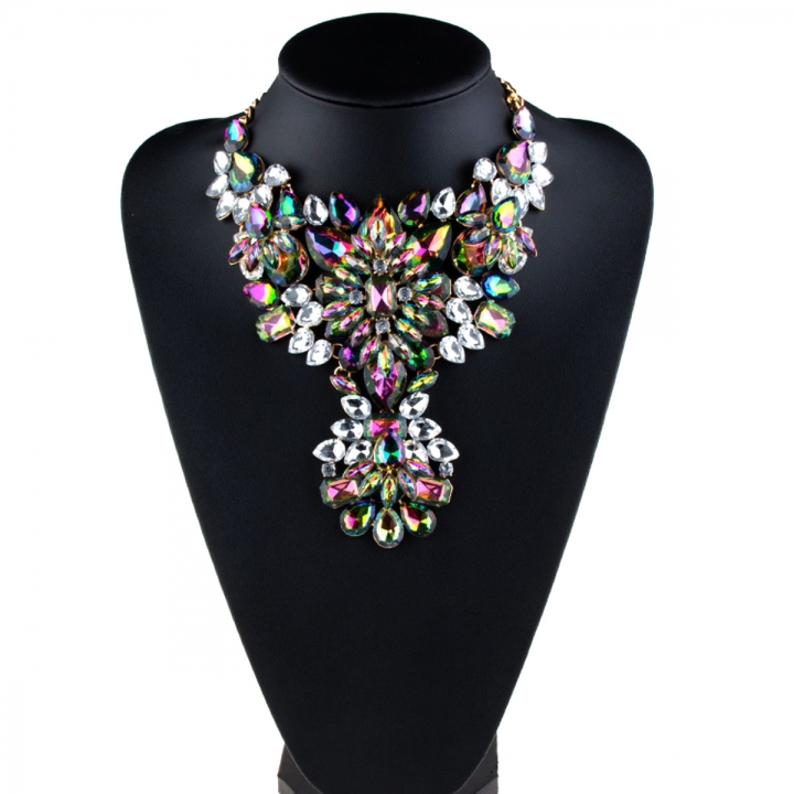 NEW Women Exaggerated Fashion Big Luxury Full Crystal Pendant Necklace Jewelry Colorful 26x9cm