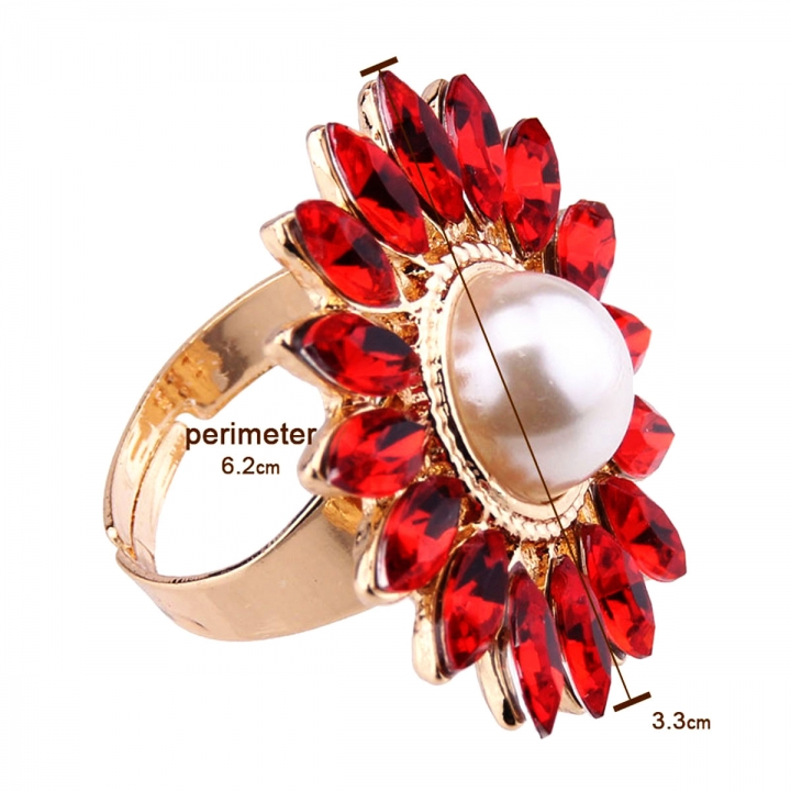 NEW Women Sun Flower Sky Sunflower Pearl Alloy Diamond Engagement Party Ring Red 23mm x 45mm