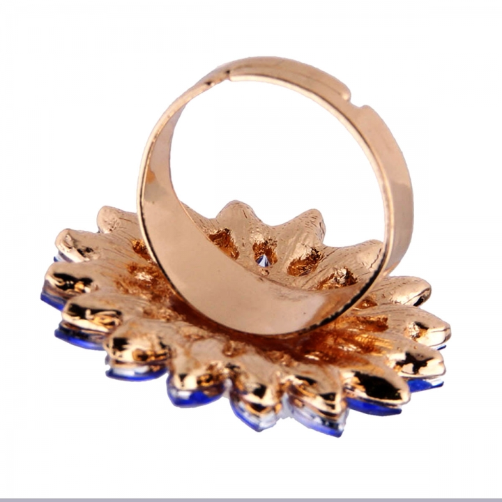 NEW Women Sun Flower Sky Sunflower Pearl Alloy Diamond Engagement Party Ring Blue 23mm x 45mm