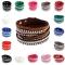 Women Leather Wrap Wristband Crystal Rhinestone Cuff Punk Bracelet Bangle Random Color 23mm x 45mm