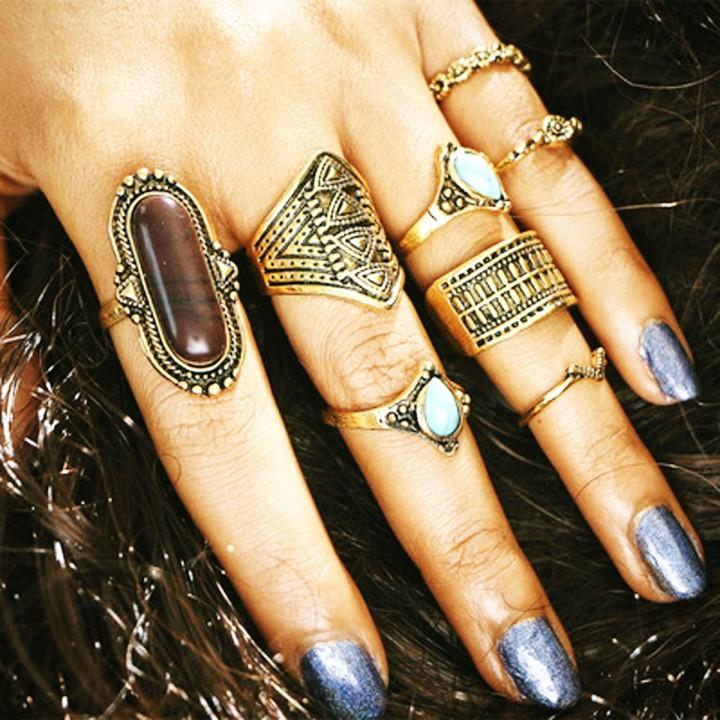 NEW Fashion 8PCS / Set Rings Set Bohemian Elephant Head Arrow Moon Snack Turquoise Rings gold 23mm x 45mm