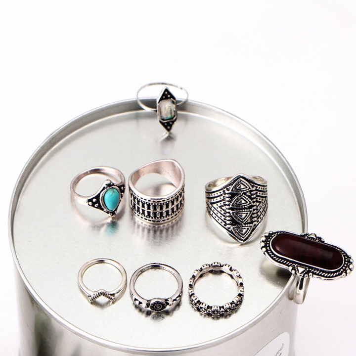 NEW Fashion 8PCS / Set Rings Set Bohemian Elephant Head Arrow Moon Snack Turquoise Rings silver 23mm x 45mm
