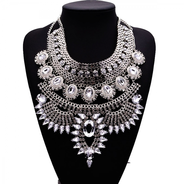 Women Vintage Alloy Crystal Exaggerated Chunky Statement Bib Necklaces Silver 26x9cm