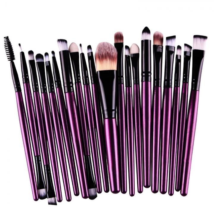 20 Pieces Makeup Brush Set Professional Face Cosmetics Blending Brush Tool Purple