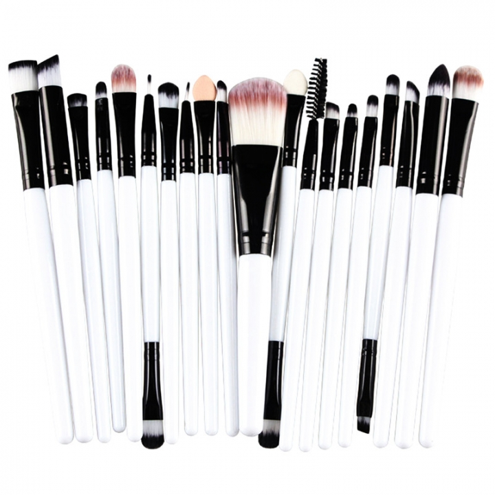 20 Pieces Makeup Brush Set Professional Face Cosmetics Blending Brush Tool White