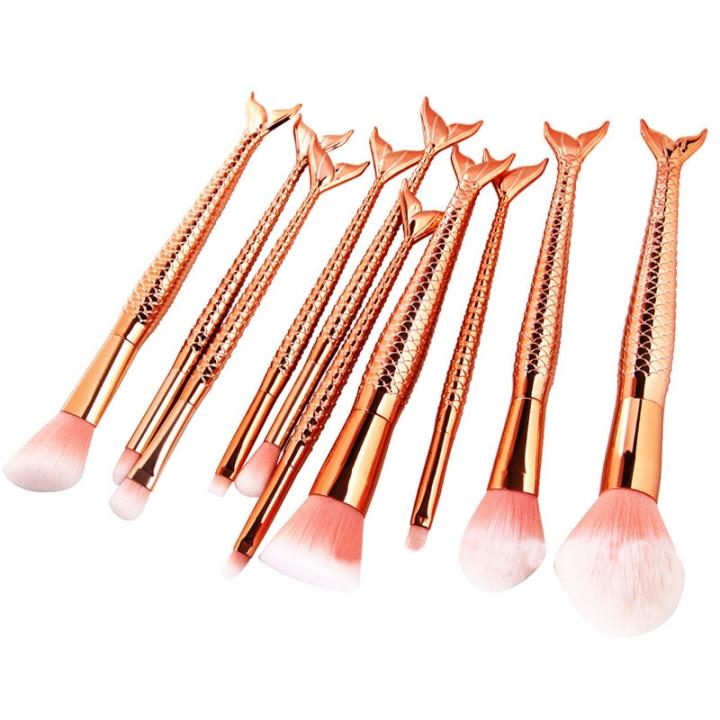 10PCS Mermaid Makeup Brushes Foundation Eyebrow Eyeliner Blush Cosmetic Concealer Brushes gold