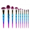 10pcs Makeup Brush Set Professional Foundation Powder Cream Blush Brush Kits multi-color