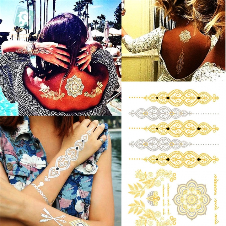 Metallic Temporary Tattoos Color Flash Fake Non - toxic Waterproof Tattoo Stickers Style random
