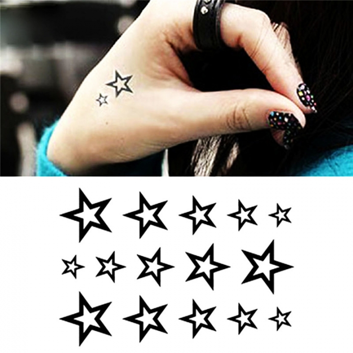 New Solid Hollow Five-pointed Star Tattoo Stickers Watertight Non-toxic Black