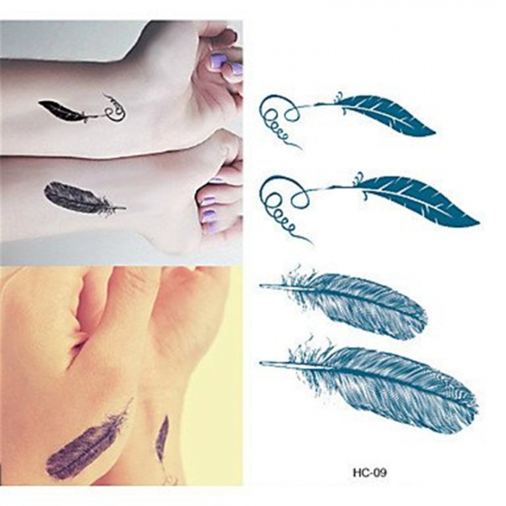1PCS Feather Tattoo Stickers Women / Men Flash Tattoo Temporary Tattoos style random