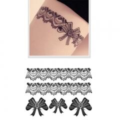 Fashion Black Lace Temporary Tattoo Stickers Waterproof Body Art Tattoo Sticker black