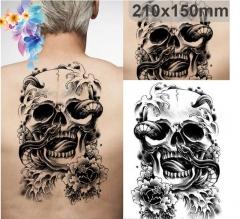 Halloween Tattoo Decals Skull Body Art Waterproof Paper Tattoo Stickers black