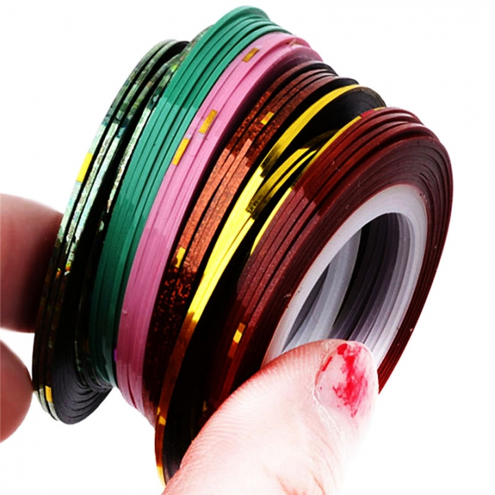 Glitter Nail Tape Line Sticker Decorations DIY Self-Adhesive Decal Tools 1pcs random color 10