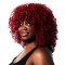 Brazilian Short Curly Lace Front Wigs with Baby Hair for Black Women red no size