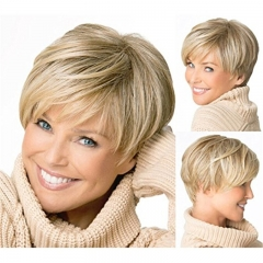 New Fashion Women Western Inclined Bang Short Straight Wigs gold no size
