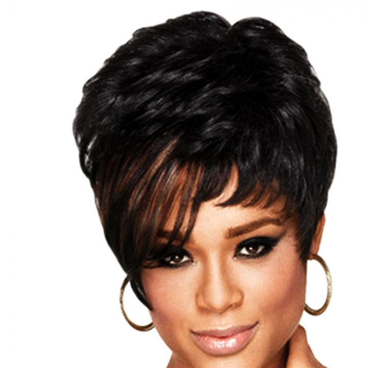 Short Wigs Female Cut Wig Heat Resistant Synthetic Wigs for Black Women black no size