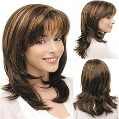 Women Wigs Medium Long Curly Brown Mixed Color Blonde Natural Hair Full Wigs as picture no size