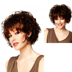 Short Curly Full Hair Wigs for Women Brown Synthetic Heat Resistant Wig as picture no size