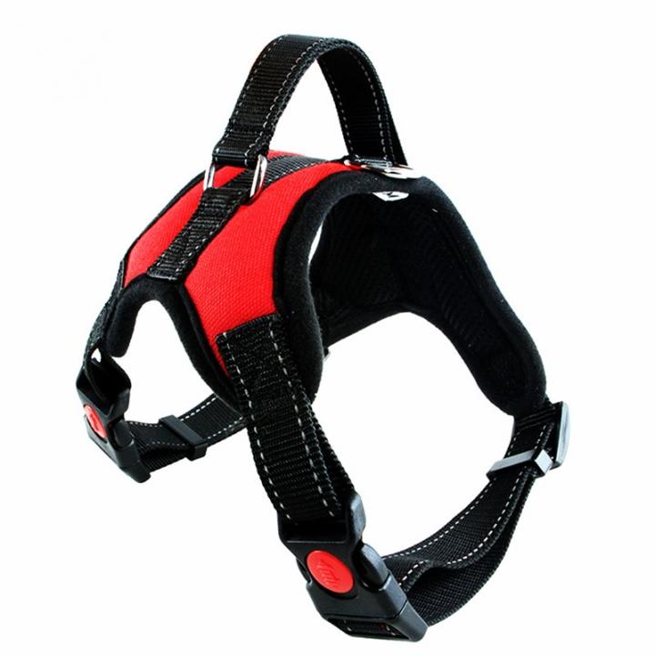 Fashion Dog Soft Adjustable Harness Belt Pet Outdoor Vest Collar Hand Strap Red,S