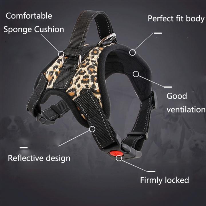 Fashion Dog Soft Adjustable Harness Belt Pet Outdoor Vest Collar Hand Strap leopard,L