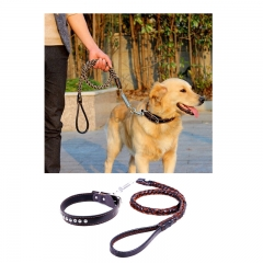 New Leather Large Dog Leashes Pet Traction Rope Collar belt Kit black,m
