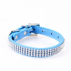 Bling Crystal Rhinestone PU Leather Puppy Dog Pet Collars Cat Collars blue,s