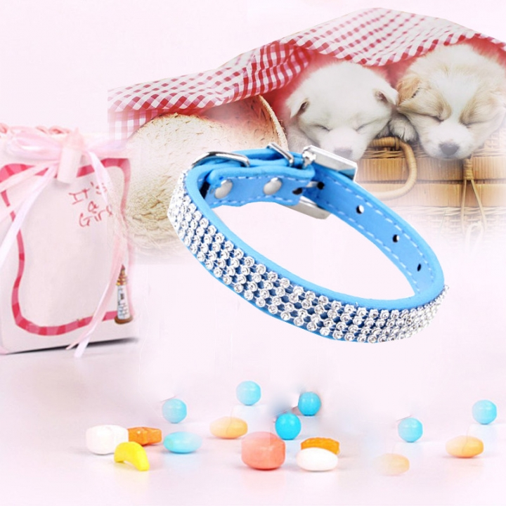 Bling Crystal Rhinestone PU Leather Puppy Dog Pet Collars Cat Collars blue,m