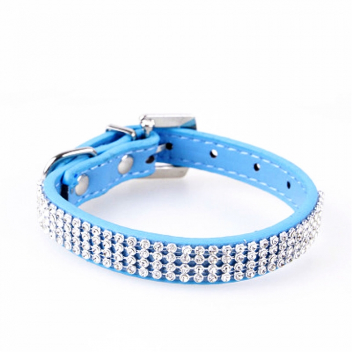 Bling Crystal Rhinestone PU Leather Puppy Dog Pet Collars Cat Collars blue,L