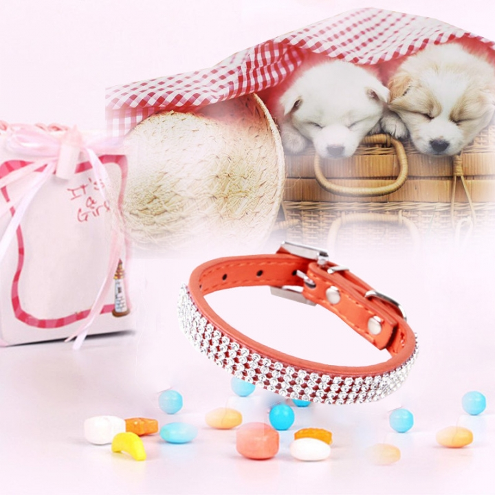 Bling Crystal Rhinestone PU Leather Puppy Dog Pet Collars Cat Collars Orange,XL