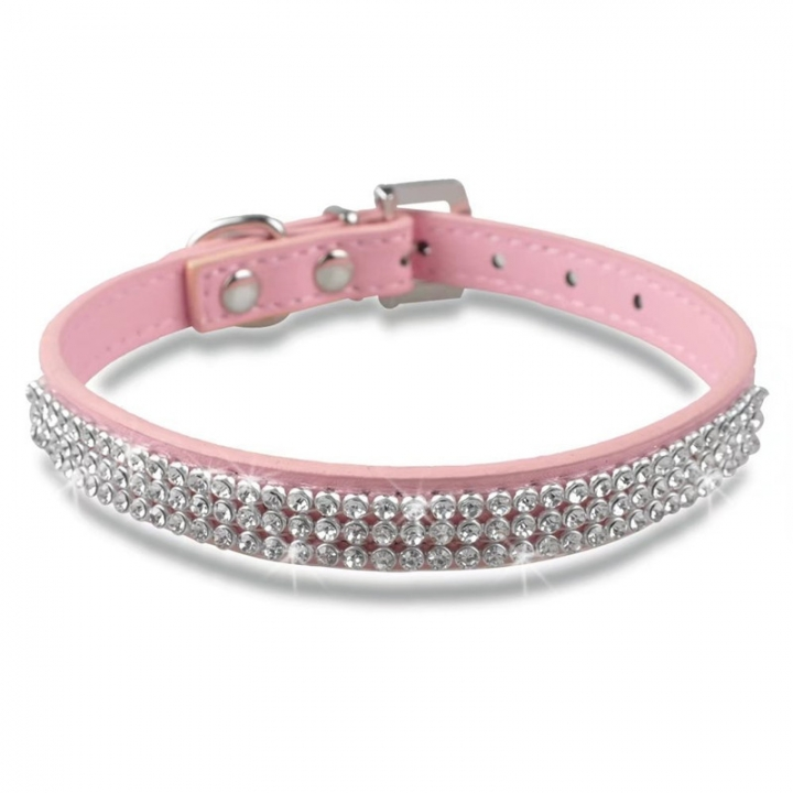 Bling Crystal Rhinestone PU Leather Puppy Dog Pet Collars Cat Collars Pink,m