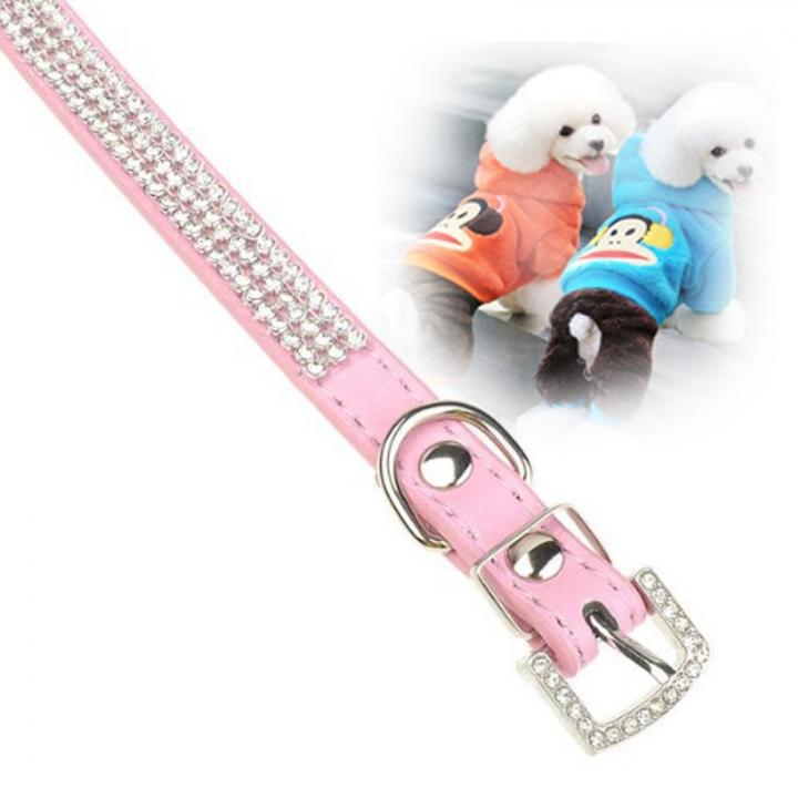 Bling Crystal Rhinestone PU Leather Puppy Dog Pet Collars Cat Collars Pink,L
