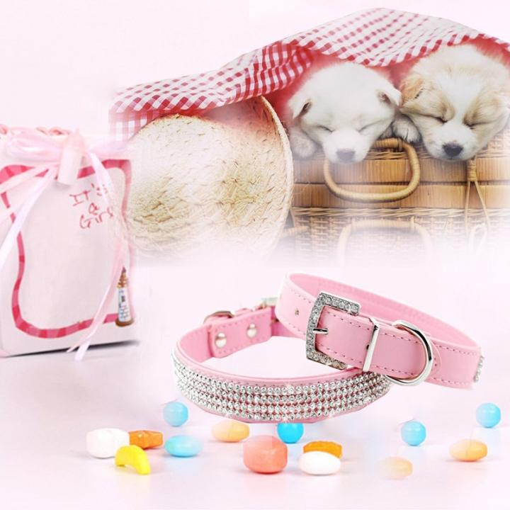 Bling Crystal Rhinestone PU Leather Puppy Dog Pet Collars Cat Collars Pink,XL