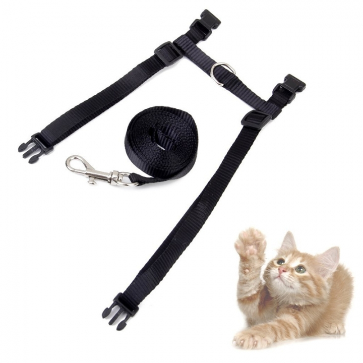 Adjustable Pet Leash Puppy Kitten I-shaped Traction Rope Belt for Safety Walking Black