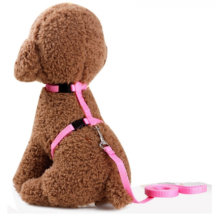 Adjustable Pet Leash Puppy Kitten I-shaped Traction Rope Belt for Safety Walking Pink