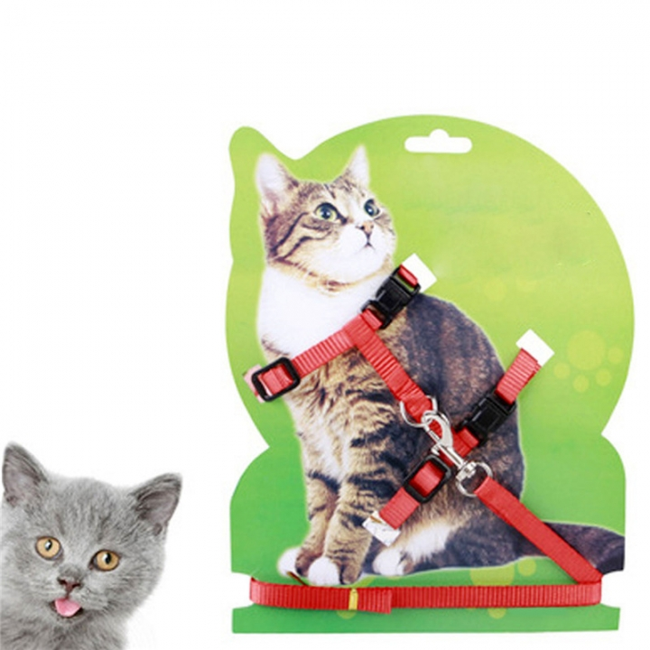 Adjustable Pet Leash Puppy Kitten I-shaped Traction Rope Belt for Safety Walking Red