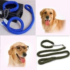 Pet Adjustable Nylon Dog Rope Slip Training Walking Leash Pet Collar Traction Rope for Large Dogs blue,s