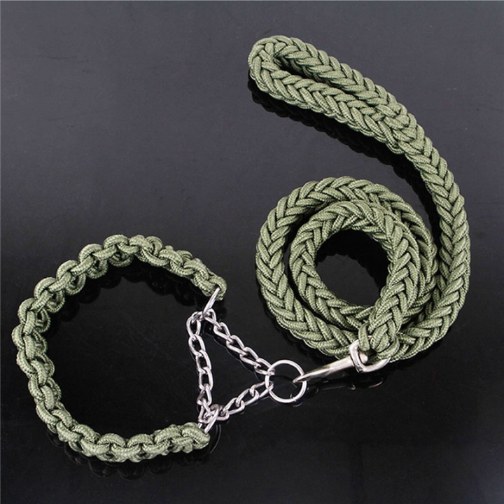 Pet Adjustable Nylon Dog Rope Slip Training Walking Leash Pet Collar Traction Rope for Large Dogs green,m