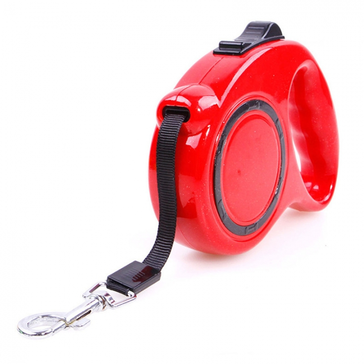 Automatic Telescopic Pet Traction Rope Portable Pet Dog Chain Tractor Dog Rope red