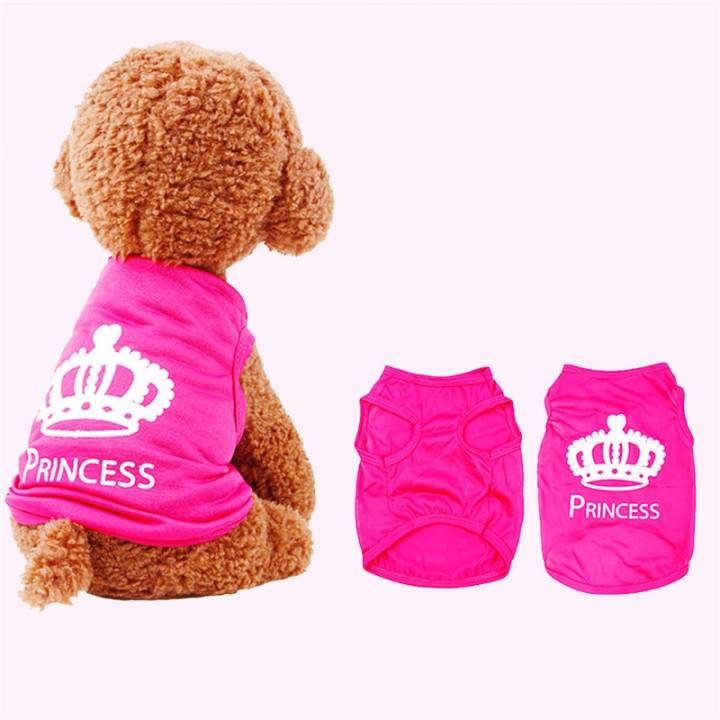 2017 Hot Pet clothing dog vest rose red crown Teddy breathable polyester pet clothes Purple,xs