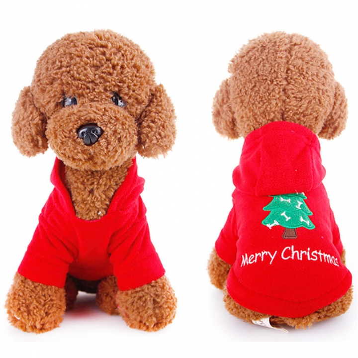 Comfortable Pet Dogs Winter Outdoor Clothes Merry Christmas Puppy Coat Jacket Clothes Costume red,xs