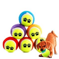 Pet Toy Throwing Tennis Ball Pet Dog Cat Bite Resistant Chew Toy Training Ball 2pc random color diameter 6.5cm