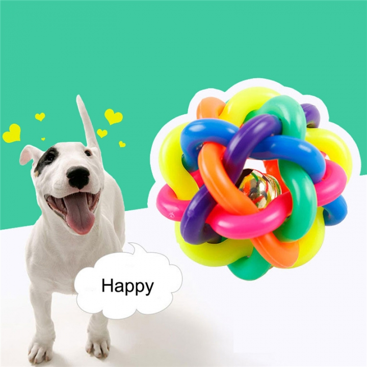 Happy Pet Cat Dog Toy Colorful Bells Weave the Ball Colorful Ball Twist Ball 2PCS diameter 6cm