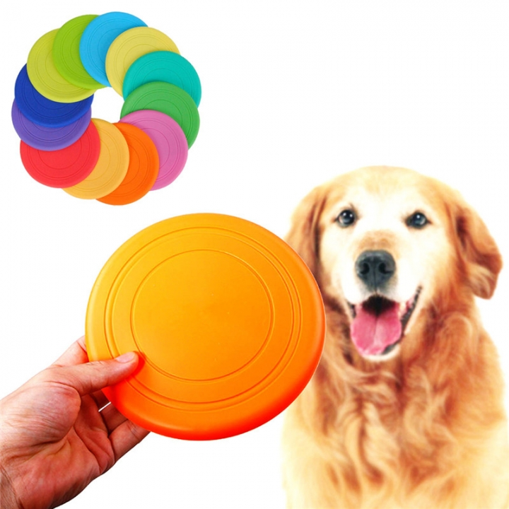 Pet Dog Frisbee Flying Disc Tooth Resistant Outdoor Dog Training Fetch Toy Color Random 1pc random color diameter 16.5cm