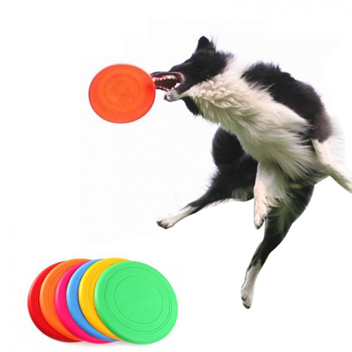 Pet Dog Frisbee Flying Disc Tooth Resistant Outdoor Dog Training Fetch Toy Color Random 10pc random color diameter 16.5cm