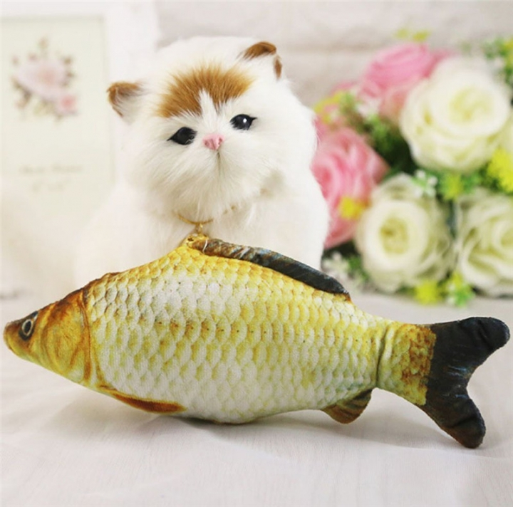 Catnip Toys Simulation Plush Fish Carp Shape Doll Interactive Pets Pillow Chew Bite Supplies Carassius auratus -S 20X8CM